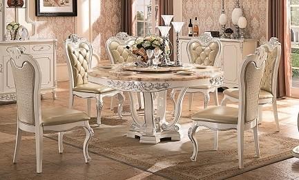 Prancūzų dvaro pietų stalas su kėdėmis F209